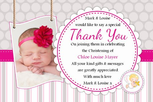 10 Personalised Christening Baptism Thank you PHOTO Cards N237 - Girls Pink